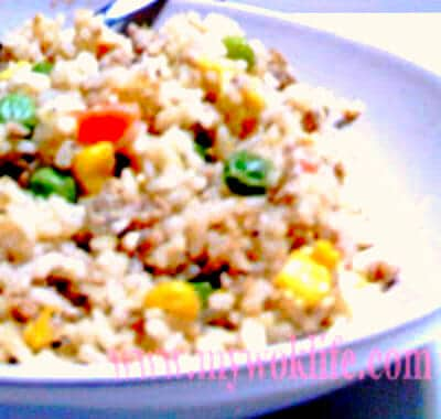 Fragrant Chinese Fried Rice and Simple Pan-Fried Pork Chop