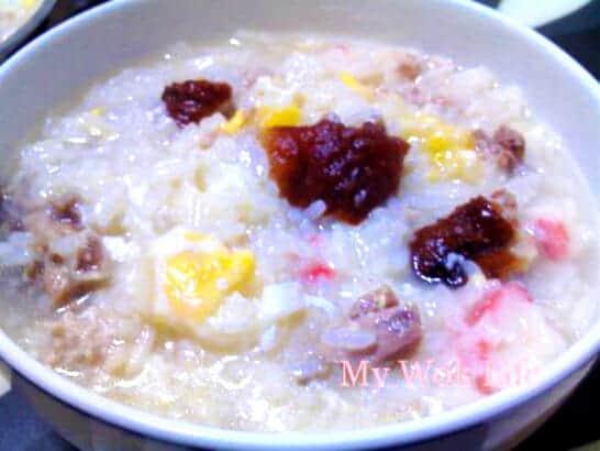 Roast duck porridge
