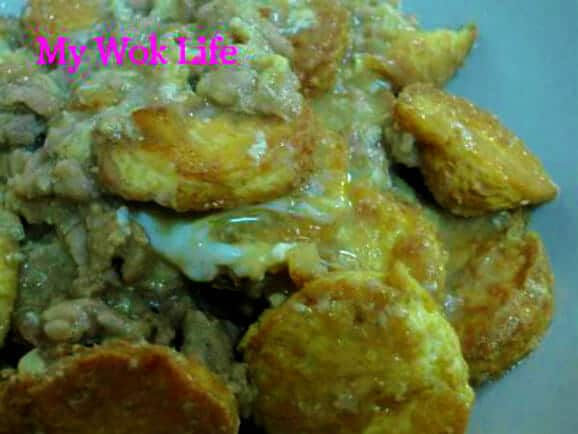 golden egg tofu with minced meat