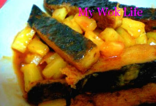 Fried Mock Fish Fillet in Savoury Pineapple Sauce