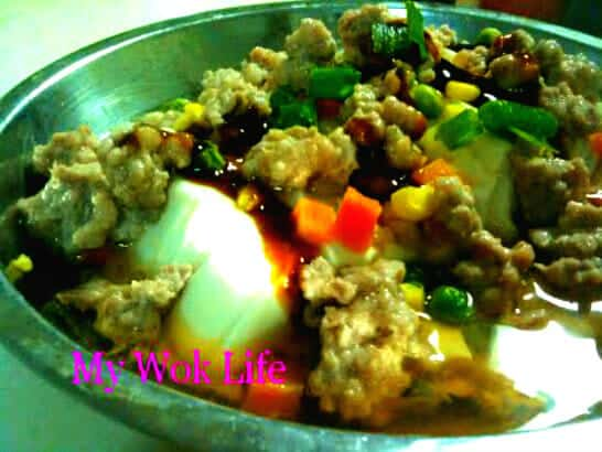 Steamed tofu and minced meat
