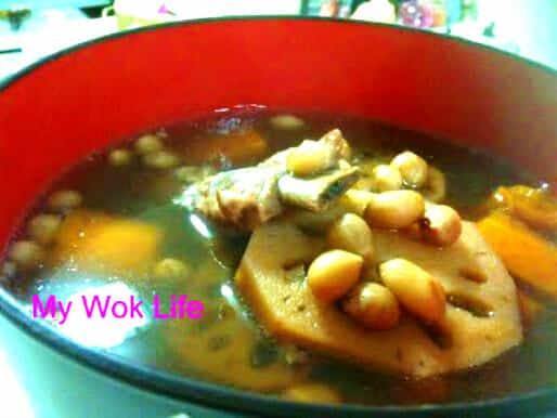 Lotus root, peanut and pork rib soup
