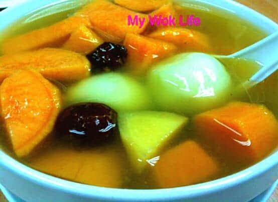 Sweet potato and rice ball dessert