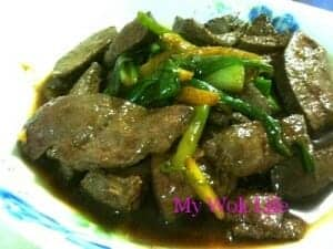 Stir fried pig's liver and spring onion
