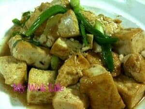 Stir fried tofu with spring onion