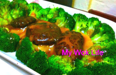 steamed broccoli and mushrooms