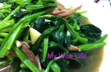 Stir fried spinach with stewed pork chop