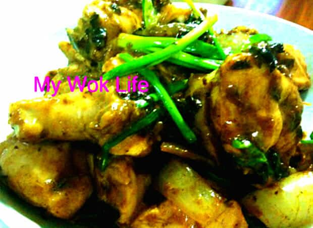 Stir fried chicken with black bean paste