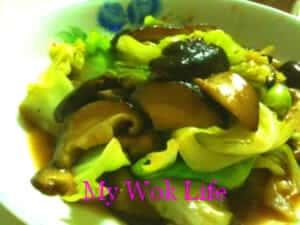 Stir fried cabbage and fresh shiitake mushrooms