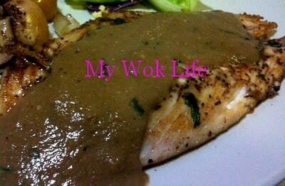 Grilled Halibut with Basil Leaves & Asian Mushroom Sauce