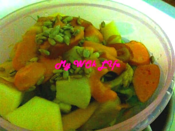 Fruits Salad with Sweet Mustard Dressing
