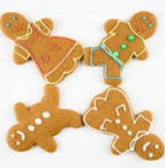 Four male and female gingerbread cookies arranged with feet touching.