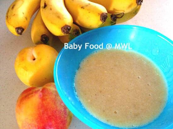 Banana with plums puree