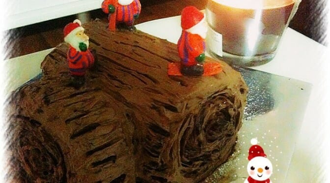 Heavenly Rich Chocolate Christmas Log Cake (Express version)