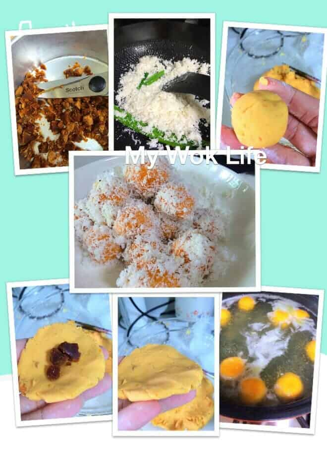 Method to make ondeh ondeh kueh with gula melaka