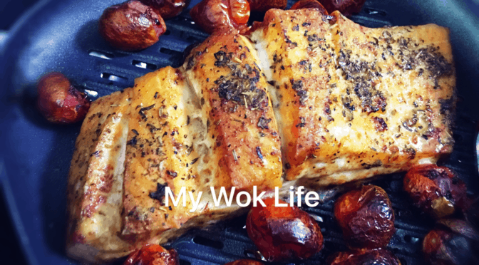 Grilled Mixed Herbs Salmon & Tomatoes (Air-Fried)