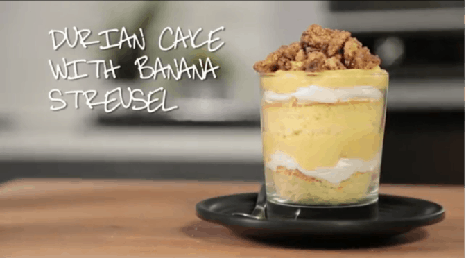 Durian Cake with Banana Streusel in Glass