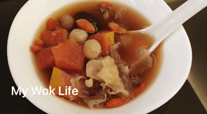 Papaya Snow Fungus Sweet Soup with Black Sugar (木瓜雪耳黑糖水)