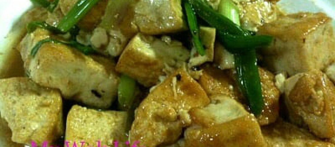 Stir fried tofu with spring onion