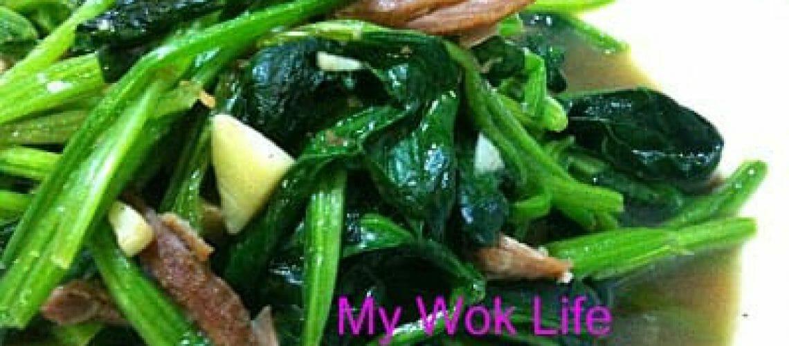 Stir fried spinach with stewed pork chop